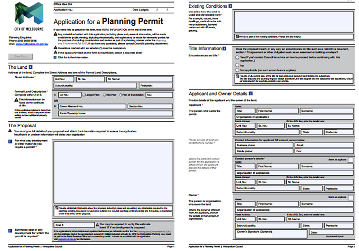 Planning Permit Application Form